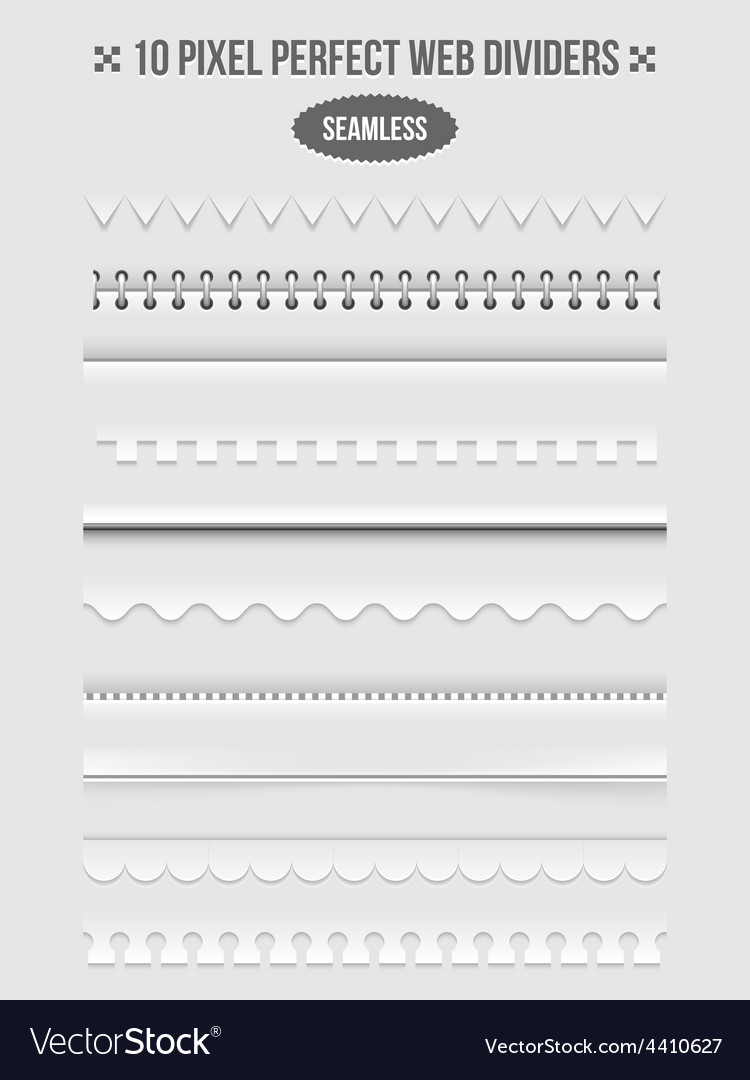 Seamless web page dividers with shadows vector