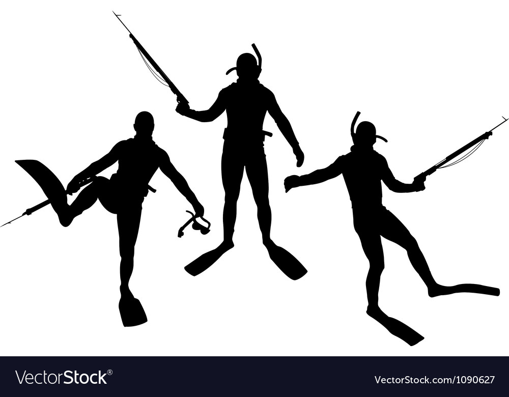 Set of diver silhouettes vector | Price: 1 Credit (USD $1)