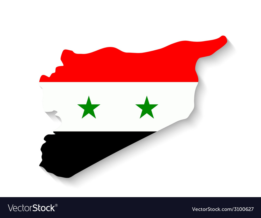 Syria flag map with shadow effect vector | Price: 1 Credit (USD $1)