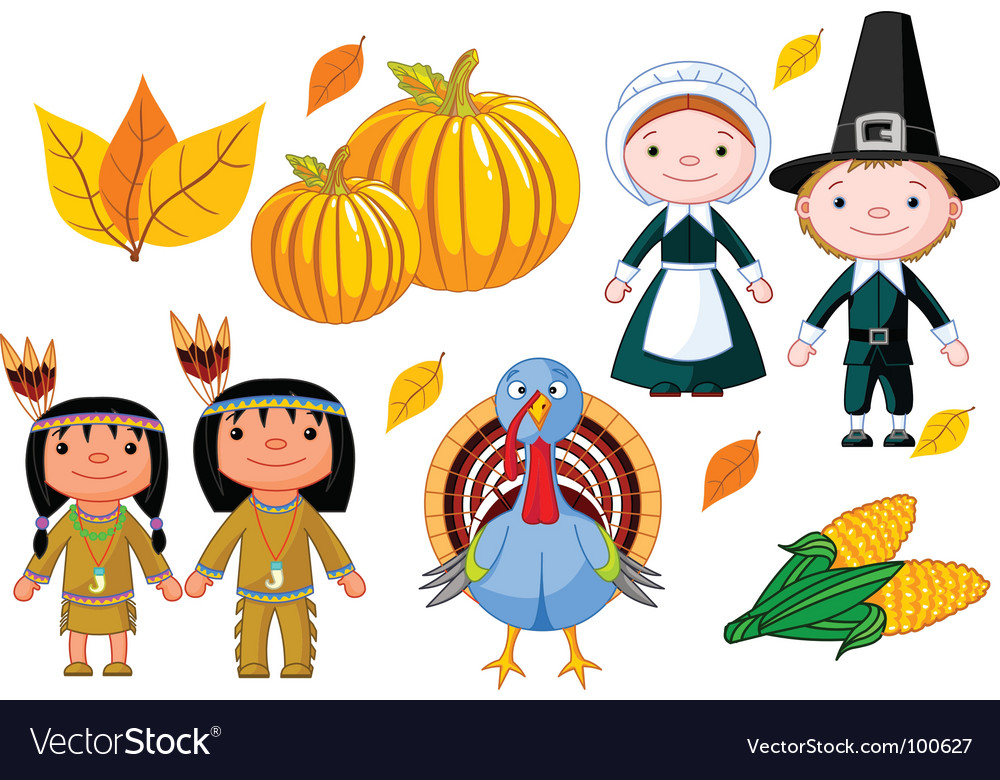 Thanksgiving icon set vector | Price: 1 Credit (USD $1)