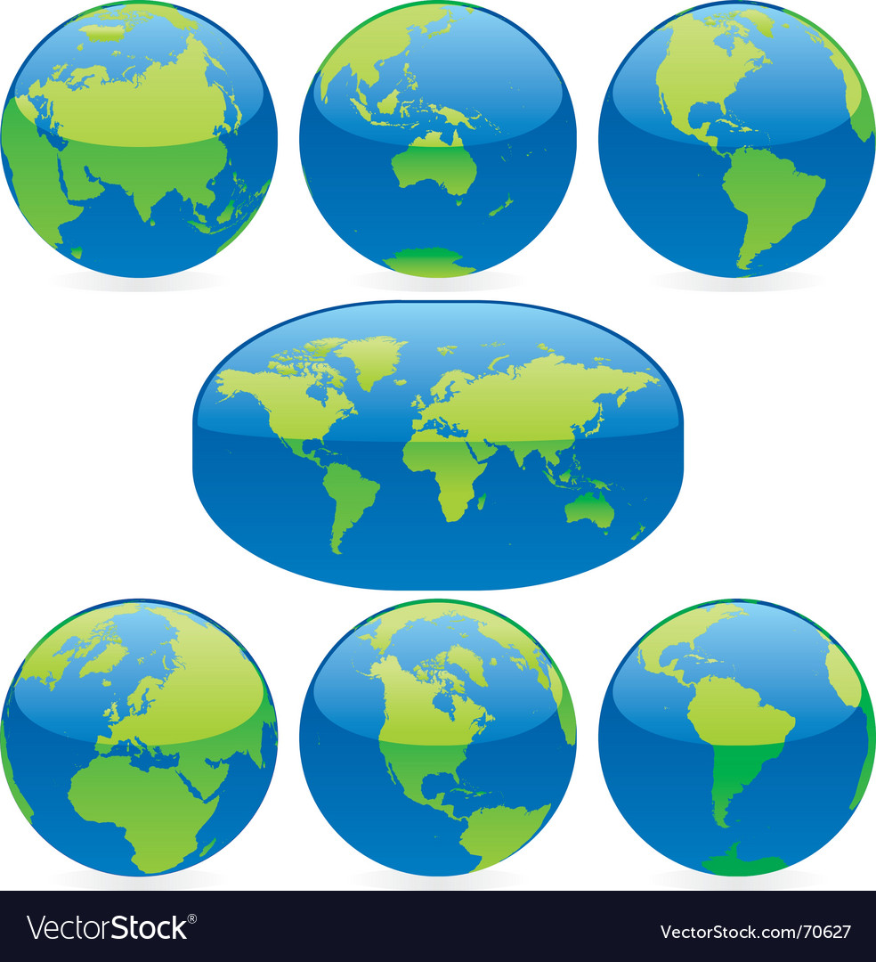 World globes and map vector | Price: 1 Credit (USD $1)