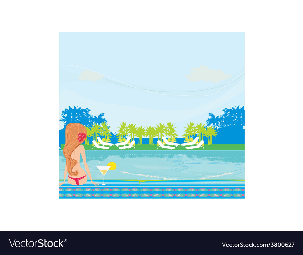 Young woman sunbathing by the pool vector | Price: 1 Credit (USD $1)