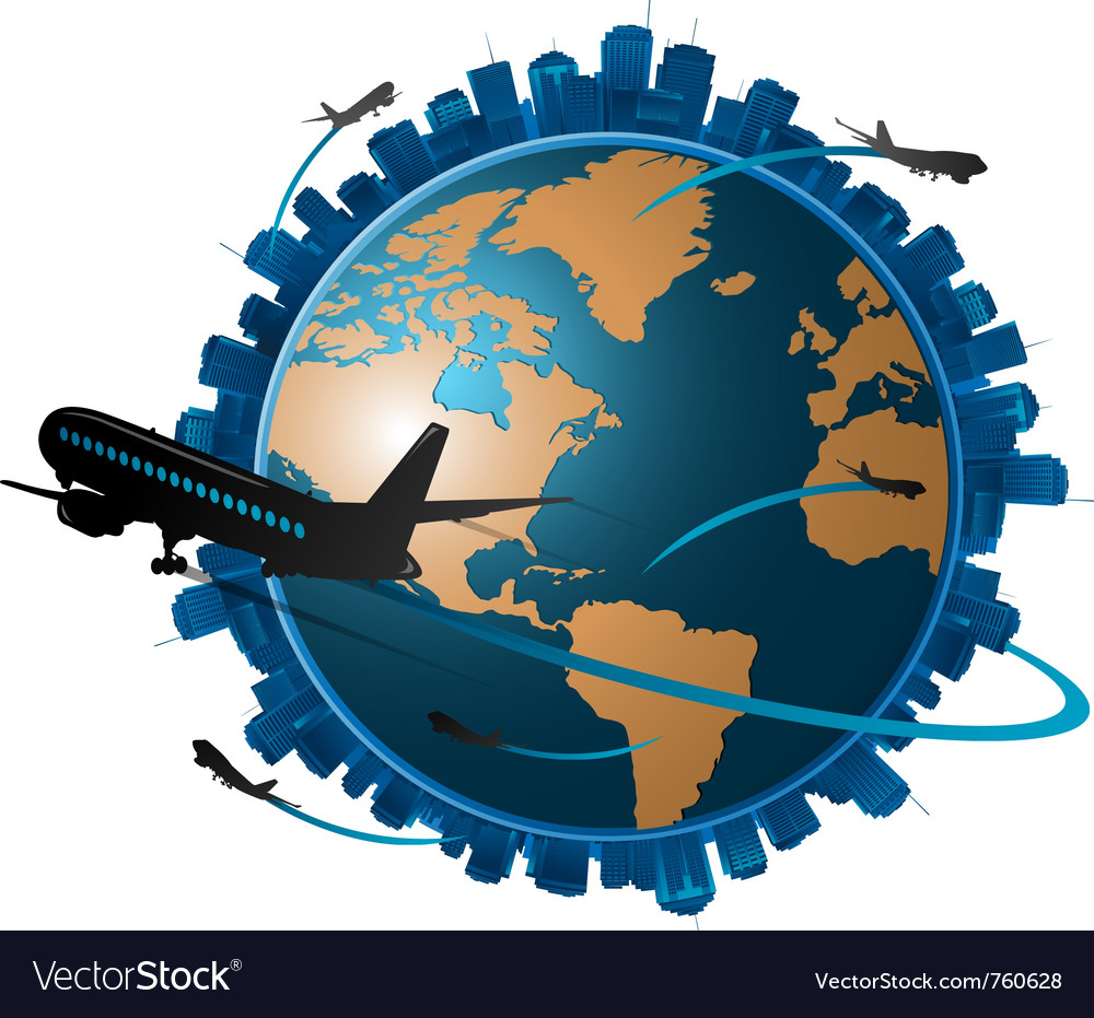 Airplane travelling around the globe travel concep vector | Price: 1 Credit (USD $1)