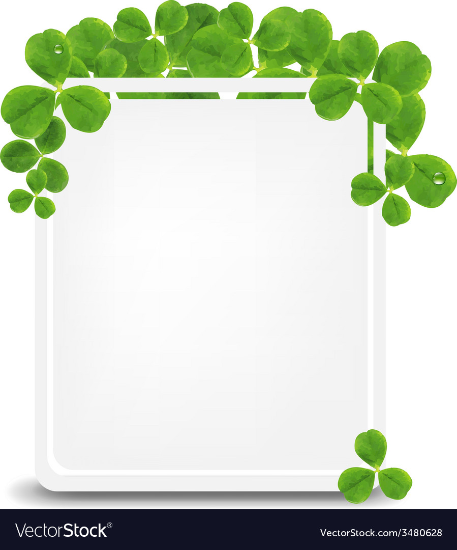 Banner with green clover vector | Price: 1 Credit (USD $1)