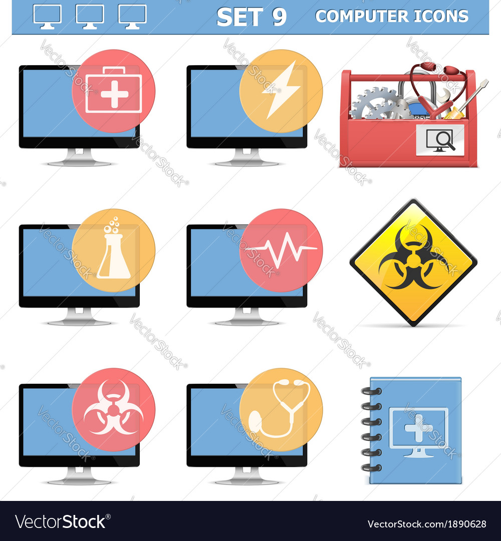 Computer icons set 9 vector | Price: 1 Credit (USD $1)