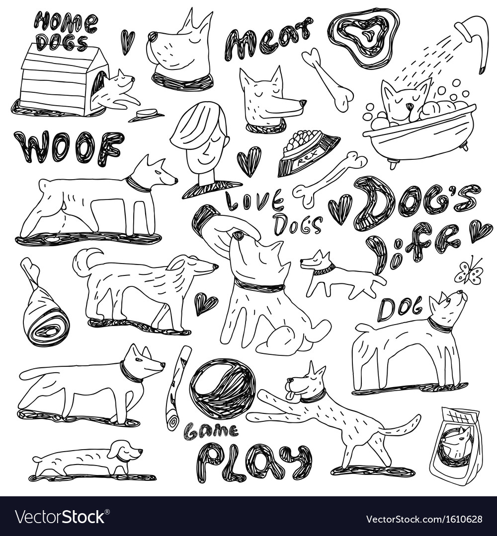 Dogs - doodles vector | Price: 1 Credit (USD $1)