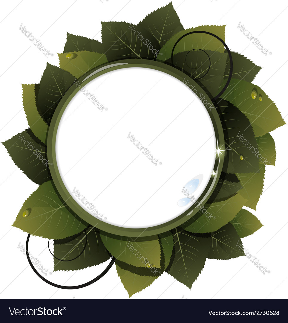 Green leaves round frame vector | Price: 1 Credit (USD $1)