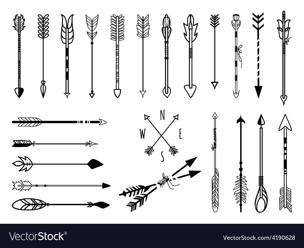 Hand drawn arrows set vector | Price: 1 Credit (USD $1)