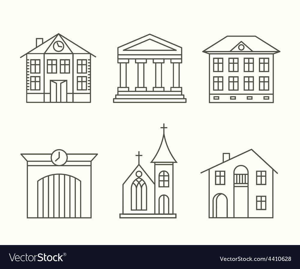 House building icons set in line style vector | Price: 1 Credit (USD $1)