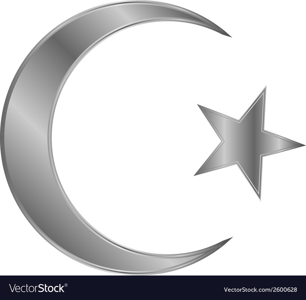 Metal star and crescent icon vector | Price: 1 Credit (USD $1)
