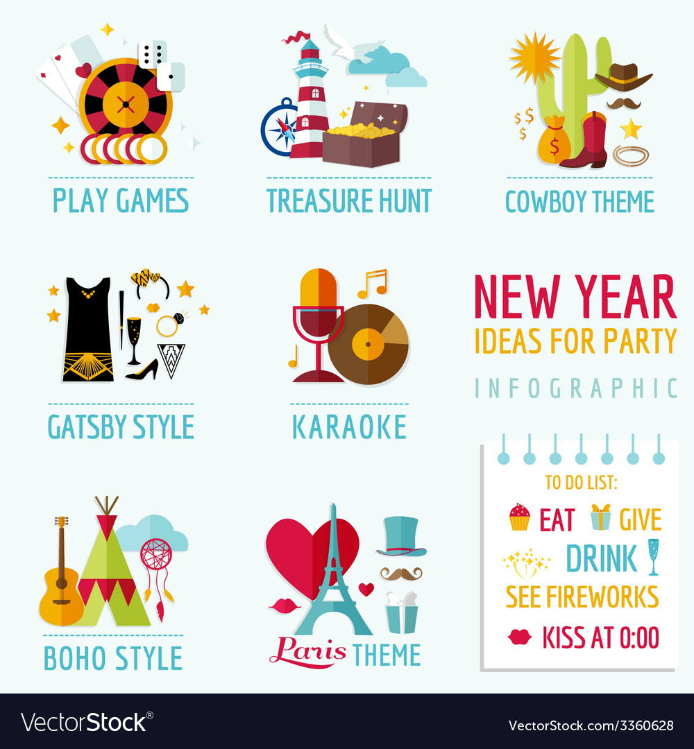 New year infographic - party ideas and themes vector | Price: 1 Credit (USD $1)