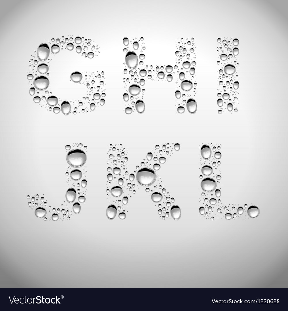 Realistic water drops font from g to l vector | Price: 1 Credit (USD $1)