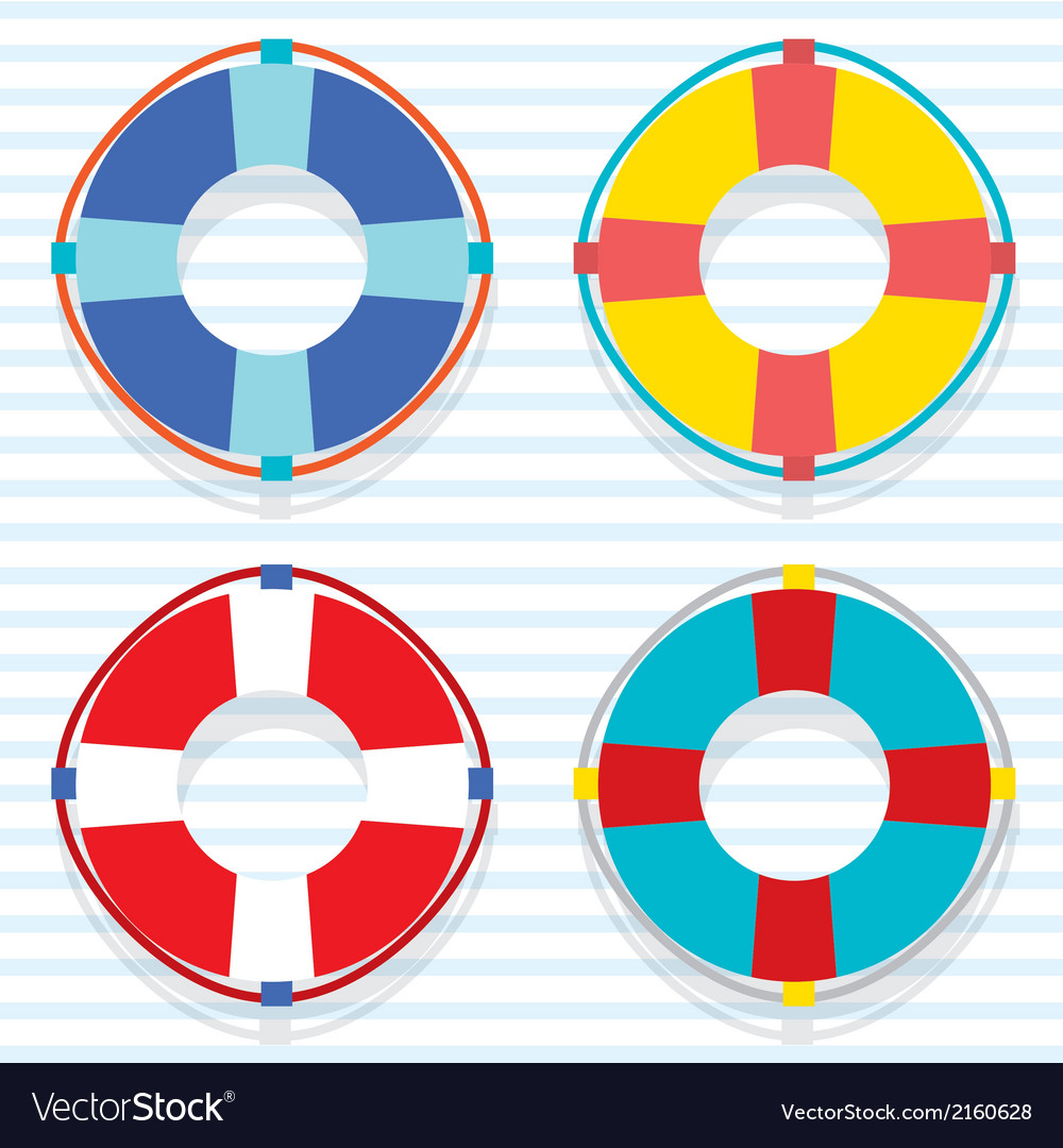 Set of colorful lifebuoy vector