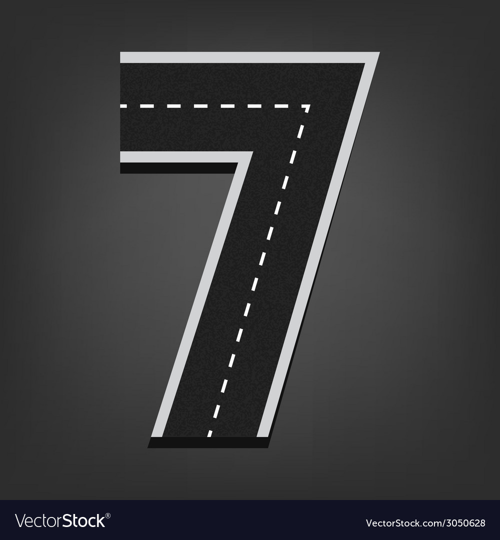 Seven number road font vector | Price: 1 Credit (USD $1)