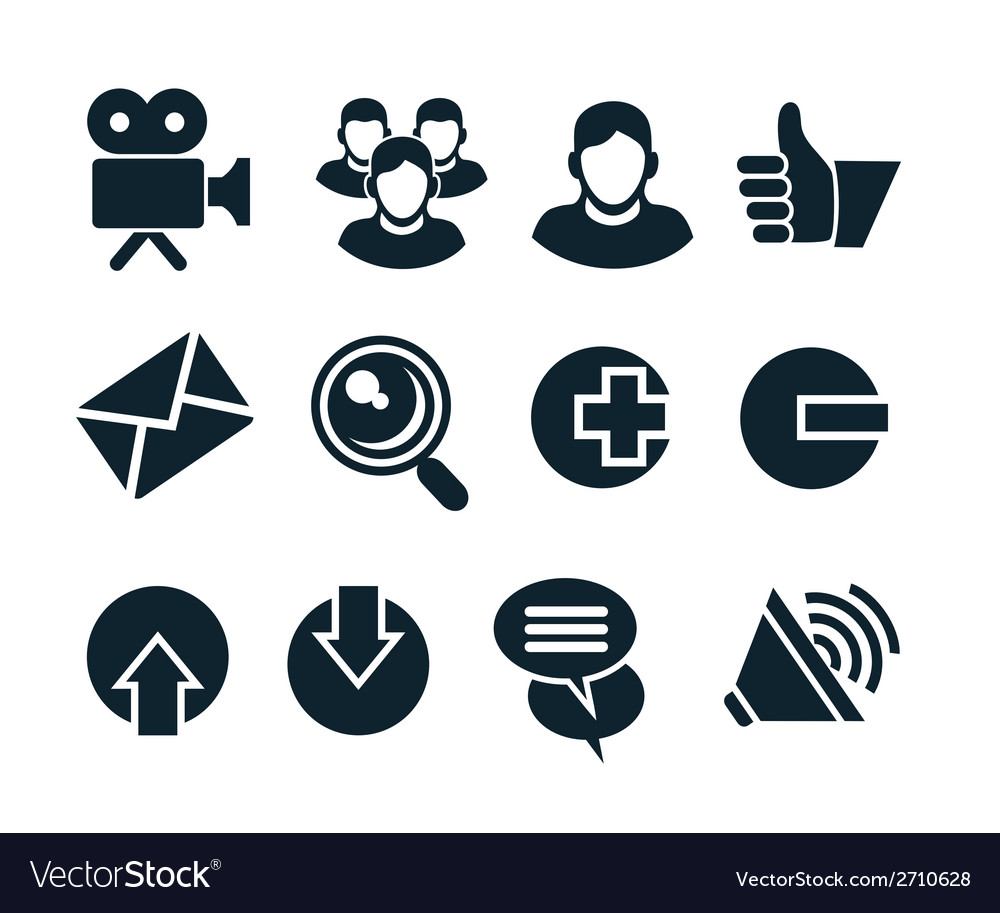 Social network icon set vector | Price: 1 Credit (USD $1)