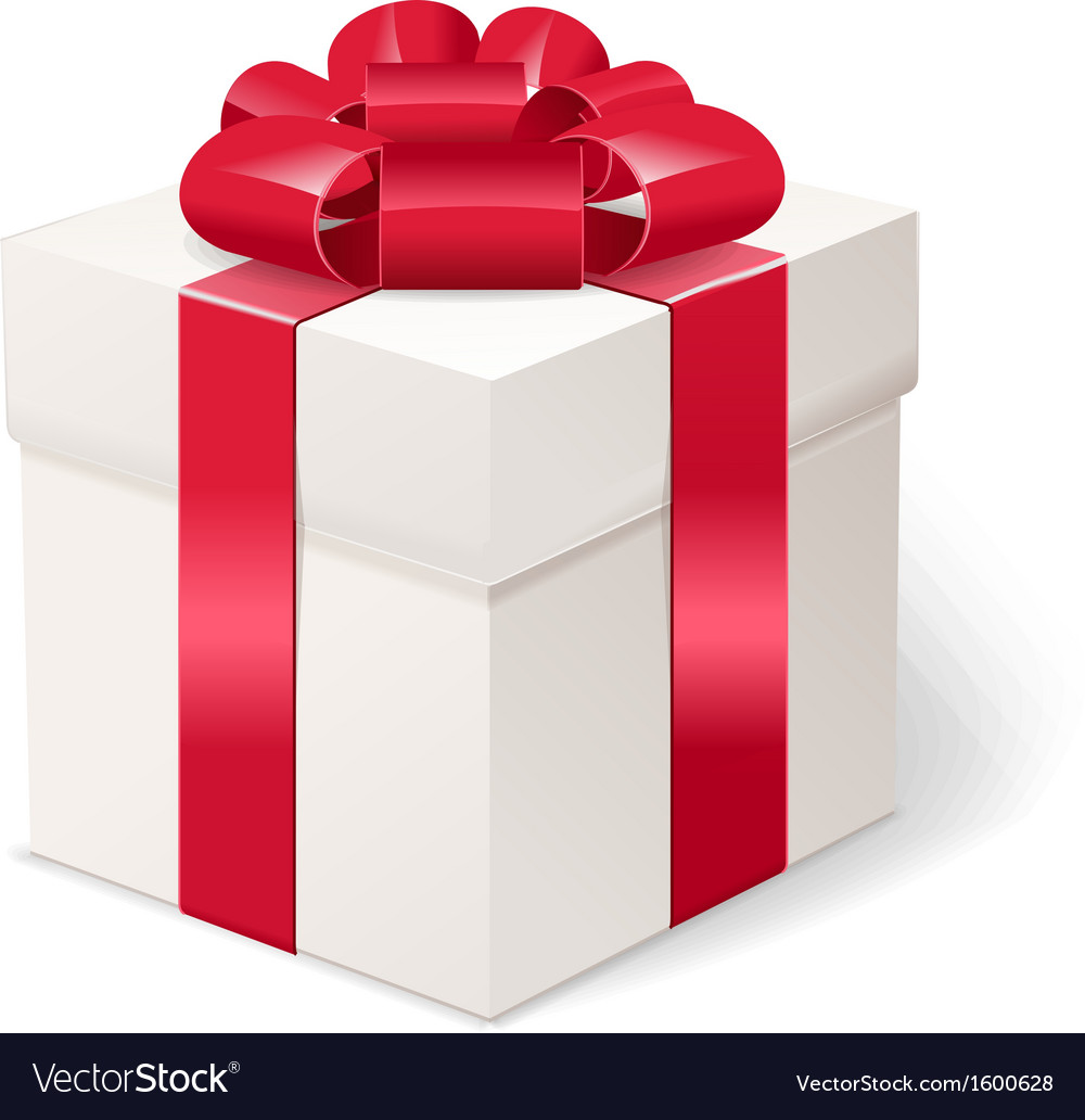 White gift box with bows and red ribbon vector   Price: 1 Credit (USD $1)