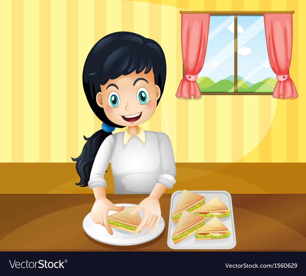 A happy woman preparing sandwiches vector   Price: 1 Credit (USD $1)