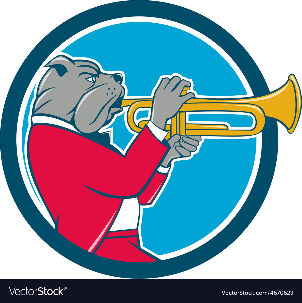 Bulldog blowing trumpet side circle cartoon vector | Price: 1 Credit (USD $1)