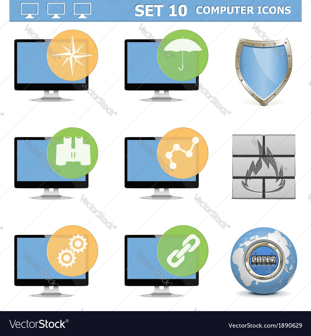 Computer icons set 10 vector | Price: 1 Credit (USD $1)