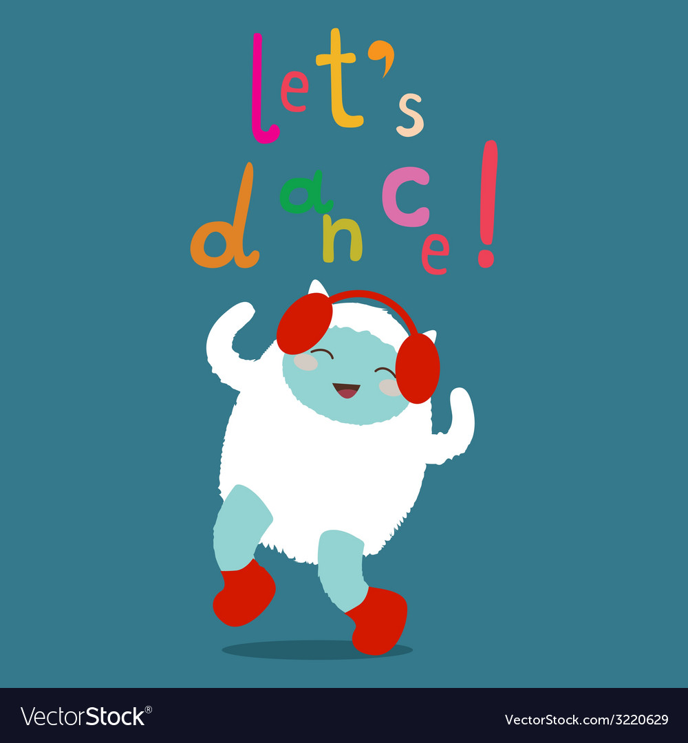 Cute yeti character lets dance vector | Price: 1 Credit (USD $1)