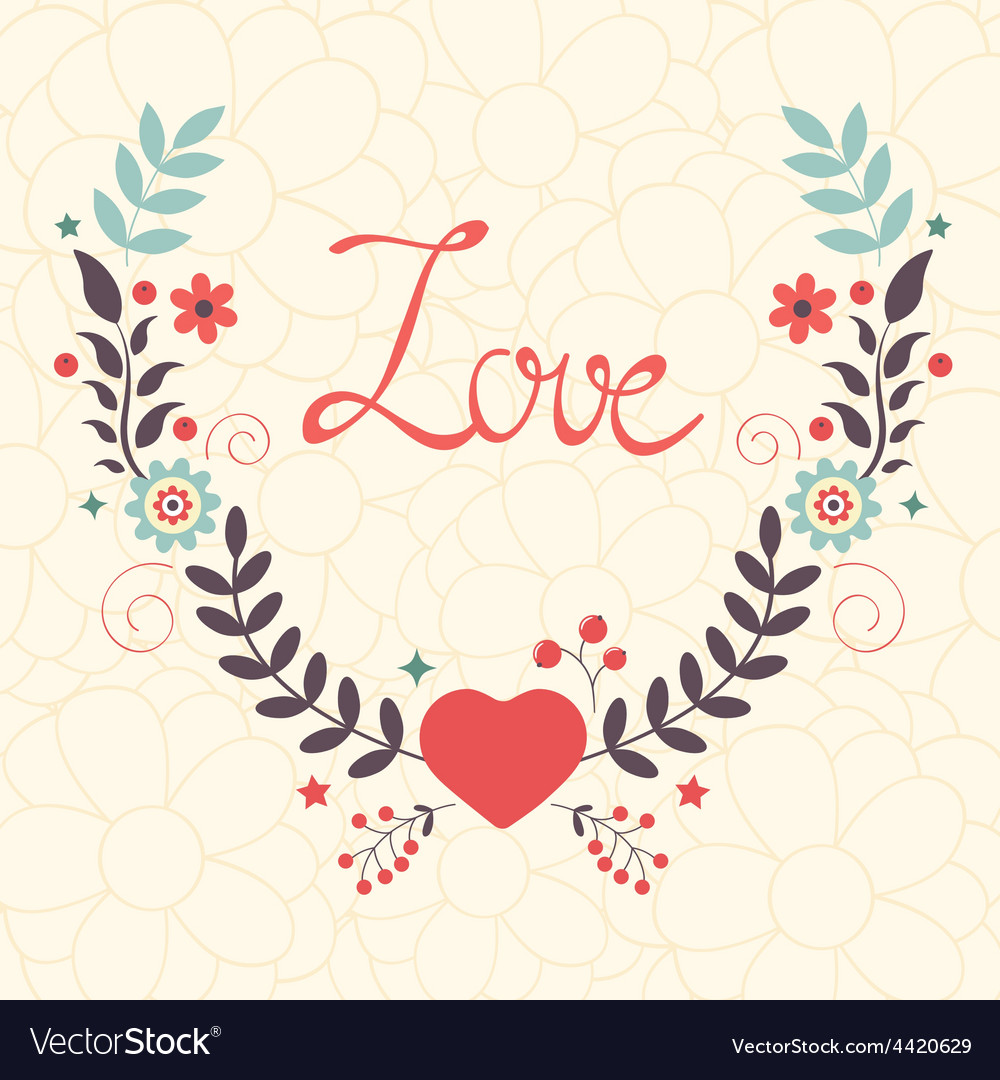 Elegant love card with floral wreath vector | Price: 1 Credit (USD $1)
