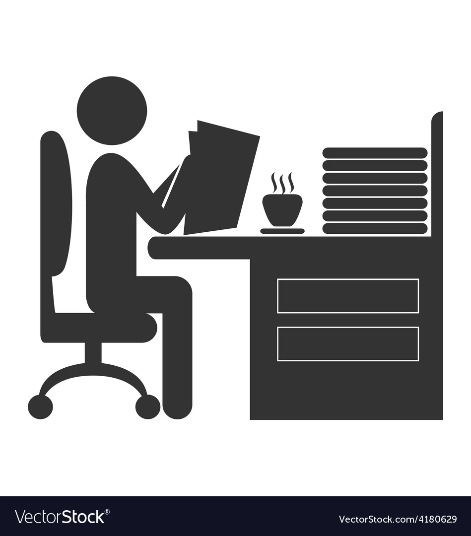Flat office read newspaper icon isolated on white vector