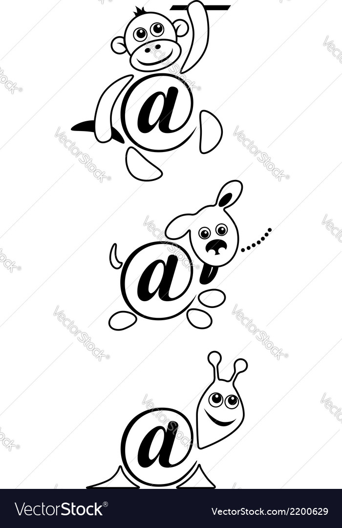 International sign email animals contour vector | Price: 1 Credit (USD $1)