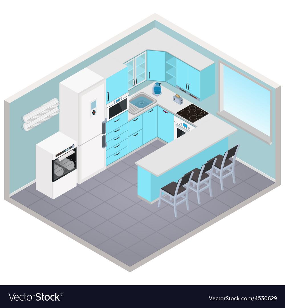 Isometric kitchen interior vector | Price: 1 Credit (USD $1)