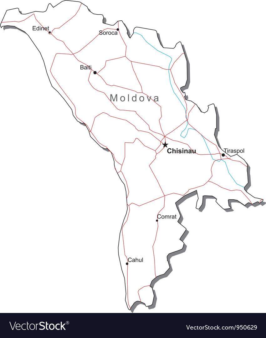 Moldova black white map vector   Price: 1 Credit (USD $1)