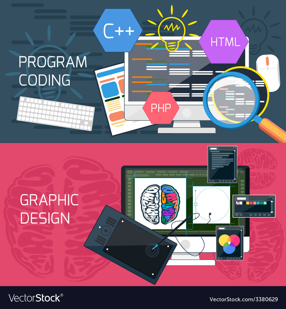 Program coding and graphic design vector | Price: 1 Credit (USD $1)