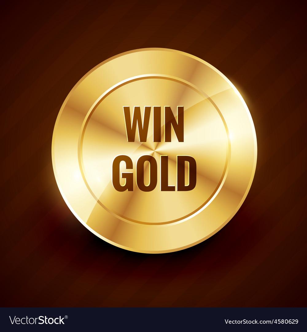 Win gold label beautiful design vector | Price: 1 Credit (USD $1)