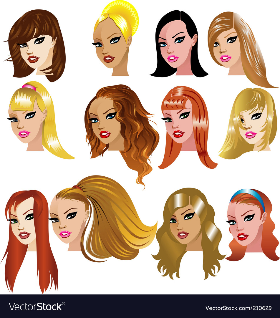 Women faces vector | Price: 3 Credit (USD $3)