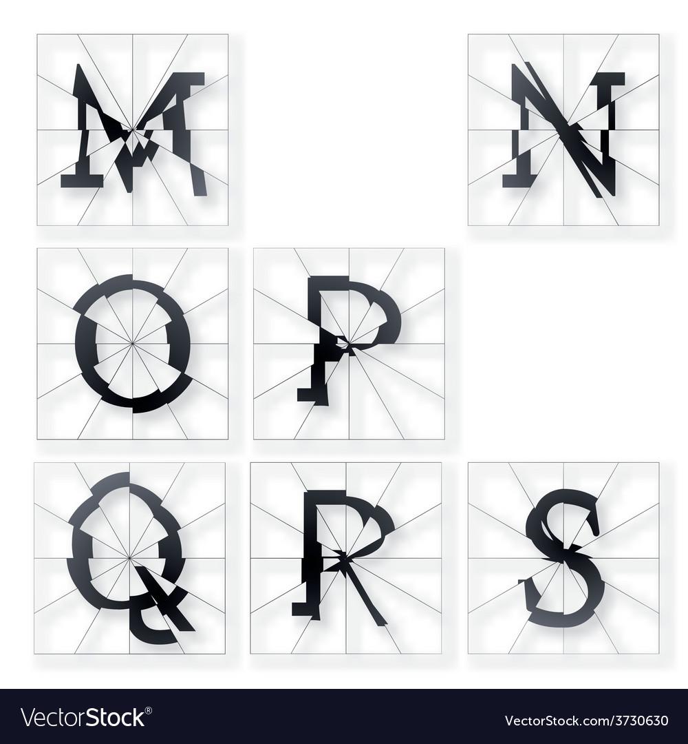 Broken font m to s vector | Price: 1 Credit (USD $1)