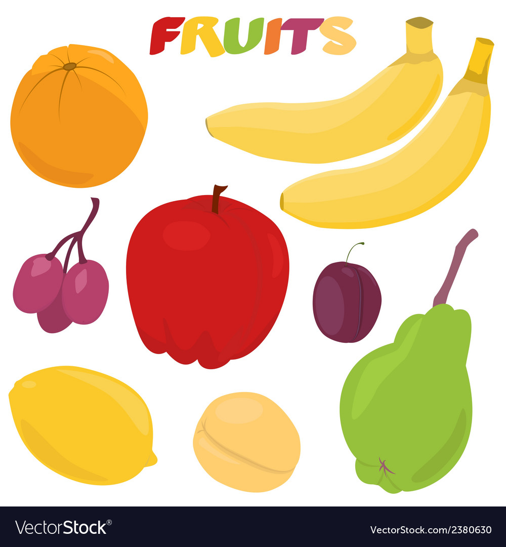Cartoon fruit set vector | Price: 1 Credit (USD $1)