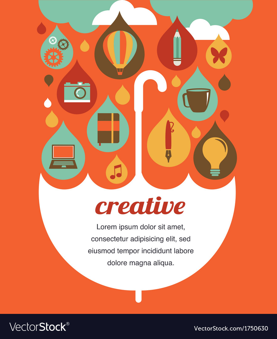 Creative umbrella - idea and design concept vector | Price: 1 Credit (USD $1)