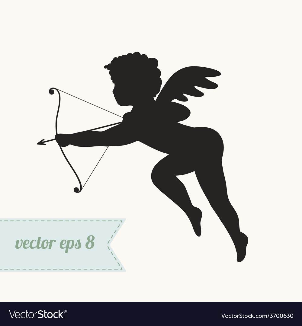 Cupid silhouette icon with bow and arrow vector | Price: 1 Credit (USD $1)