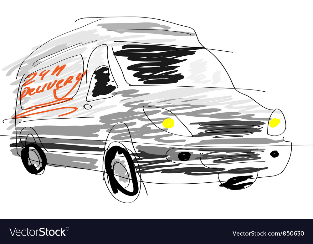 Delivery van sketch vector | Price: 1 Credit (USD $1)