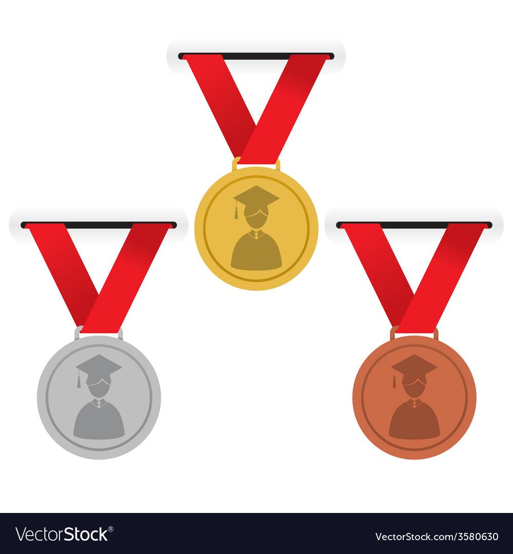 Gold silver and bronze medals education concept vector | Price: 1 Credit (USD $1)