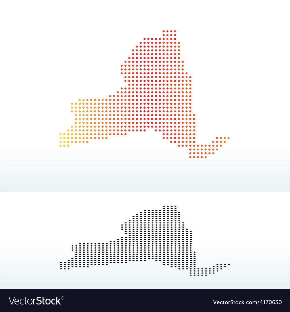 Map of usa new york state with dot pattern vector | Price: 1 Credit (USD $1)