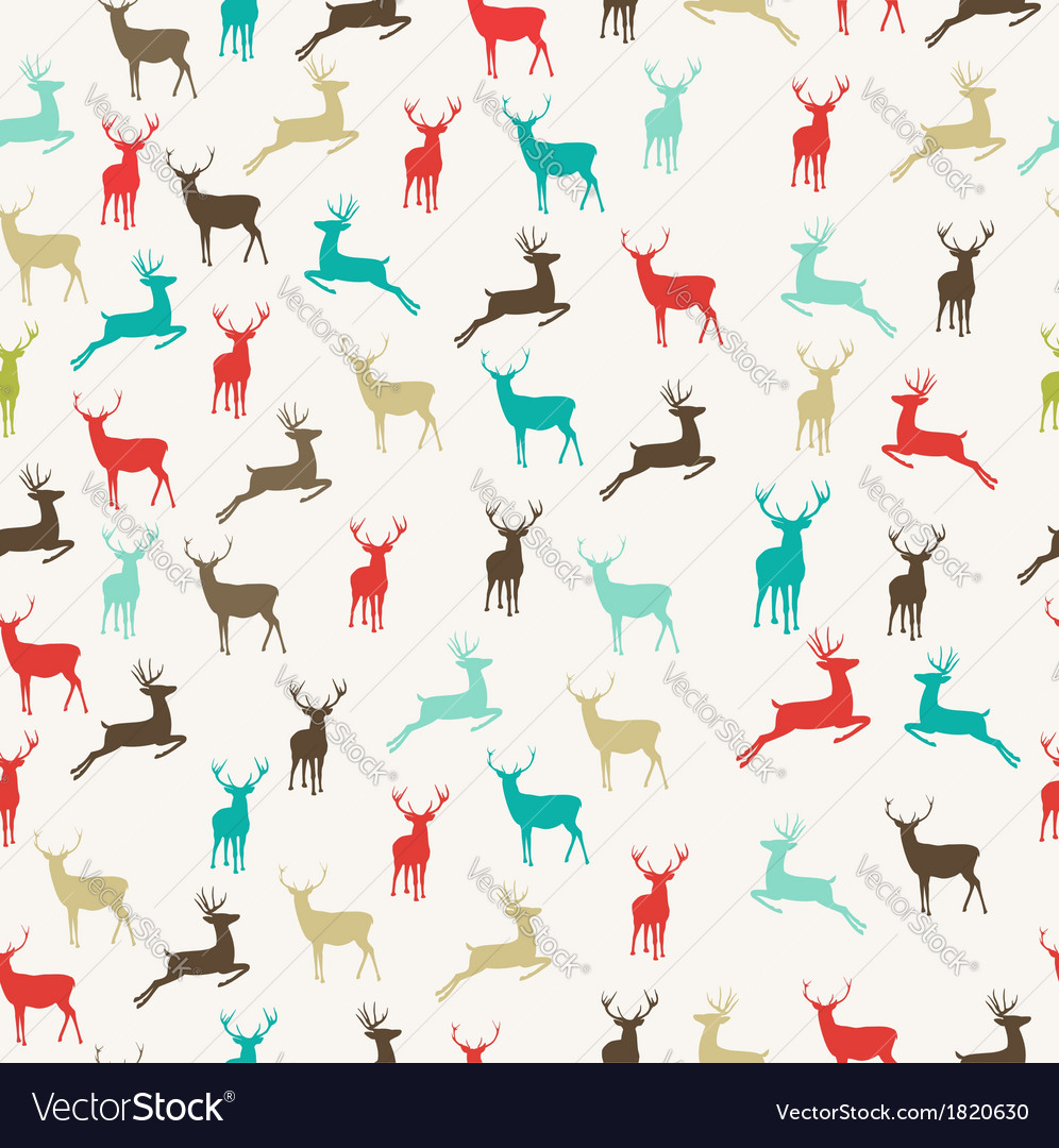 Merry christmas reindeer seamless pattern vector | Price: 1 Credit (USD $1)