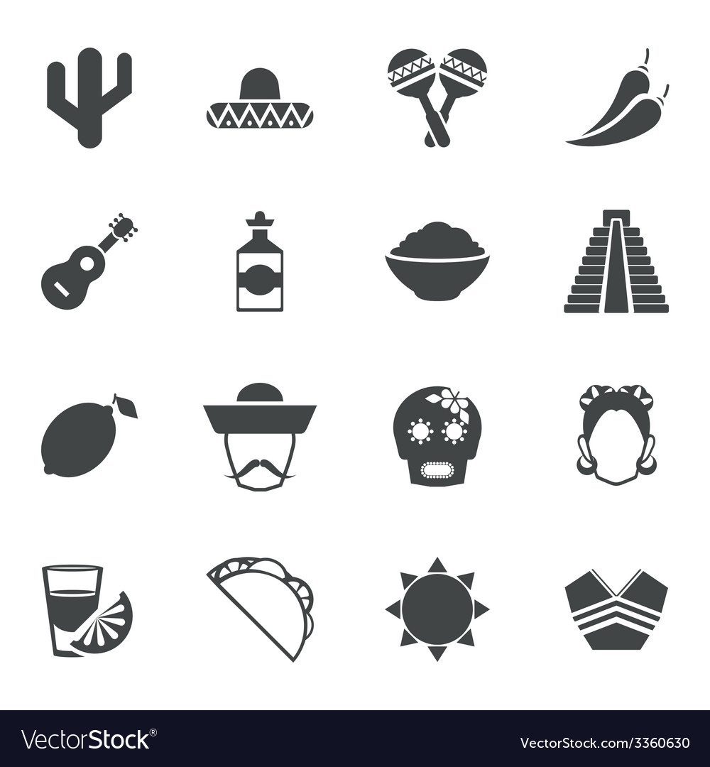 Mexico black icons set vector | Price: 1 Credit (USD $1)