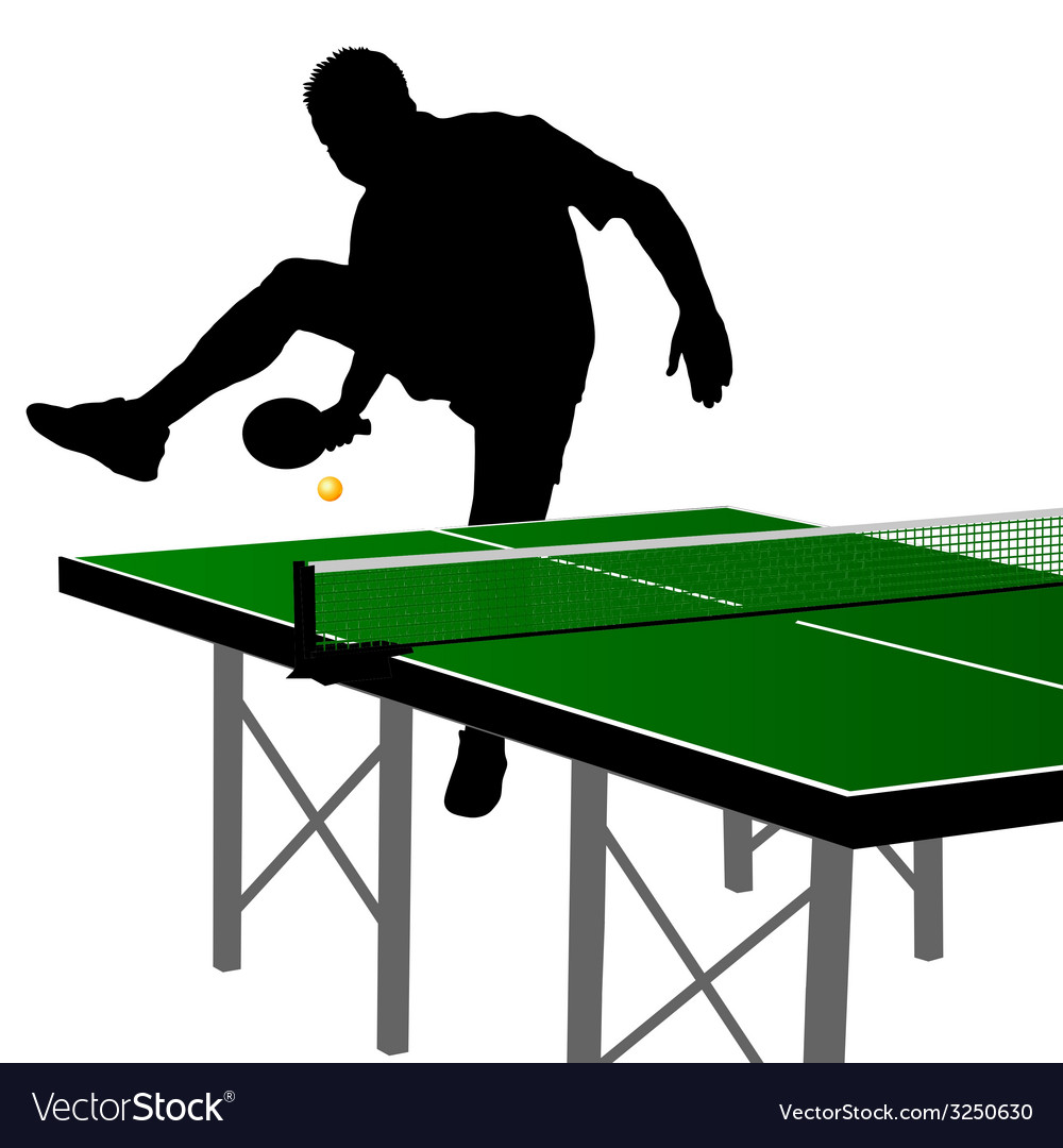 Ping pong player silhouette 1 vector | Price: 1 Credit (USD $1)