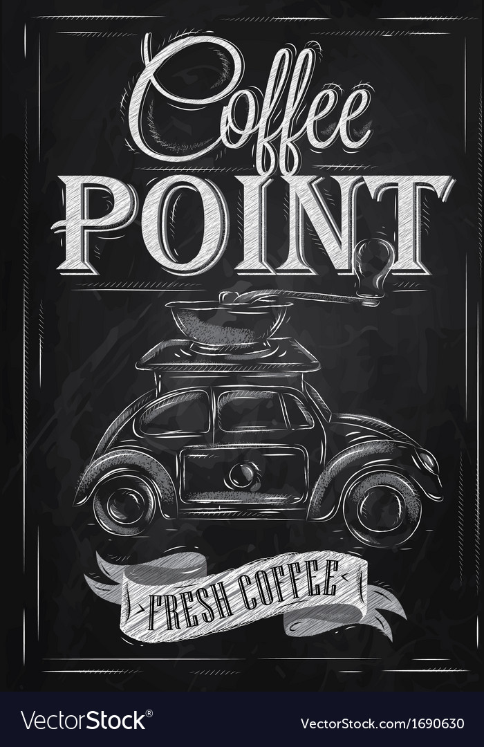 Poster retro coffee chalk chalk vector | Price: 1 Credit (USD $1)
