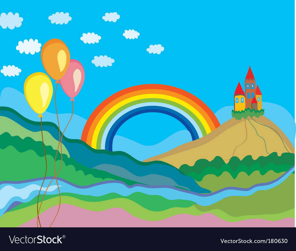 Rainbow and castle vector | Price: 1 Credit (USD $1)