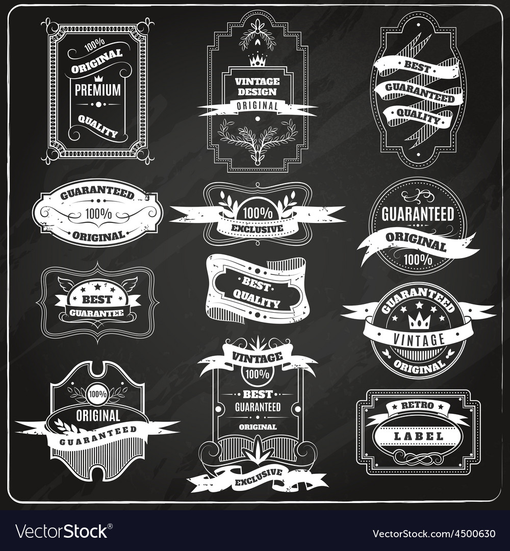 Retro emblems set chalk blackboard vector | Price: 1 Credit (USD $1)