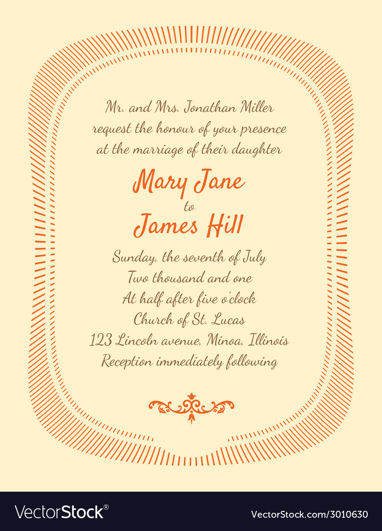 Retro wedding invitation vector | Price: 1 Credit (USD $1)