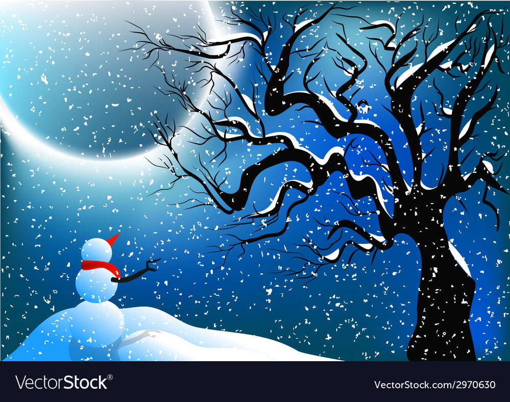 Snowman and snow vector | Price: 1 Credit (USD $1)