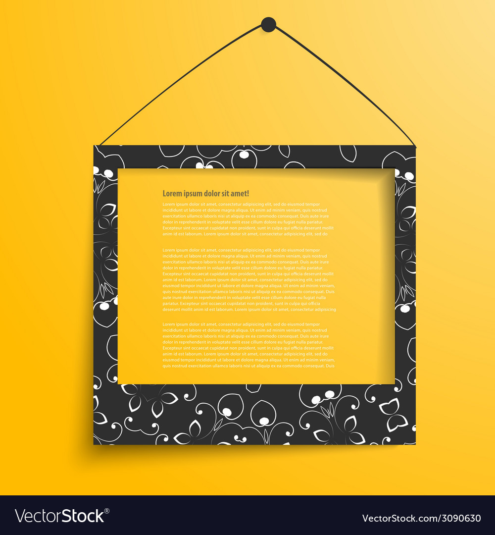 White frames on the yellow wall vector | Price: 1 Credit (USD $1)