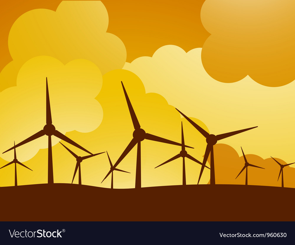 Wind turbine farm vector | Price: 1 Credit (USD $1)