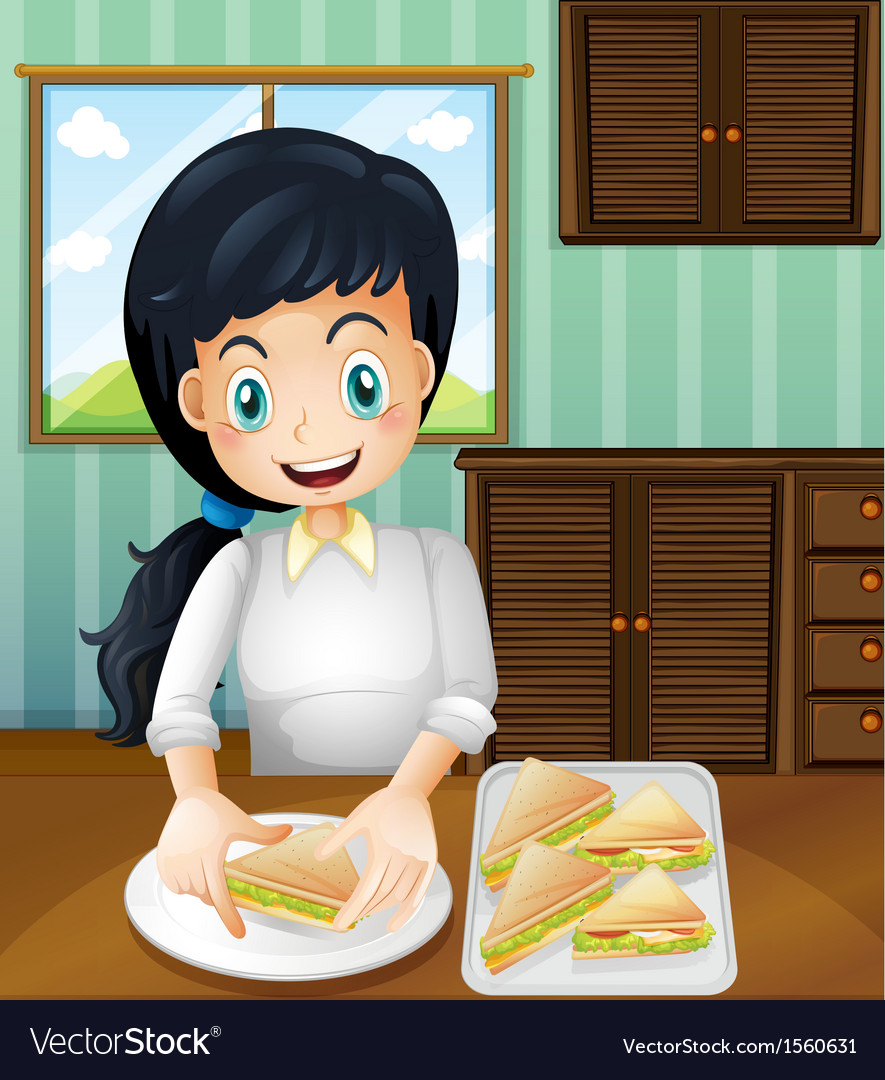 A lady preparing sandwiches vector | Price: 3 Credit (USD $3)